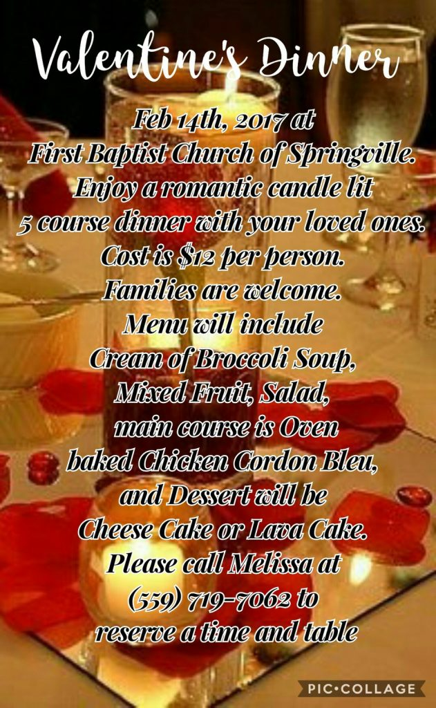 Valentines Dinner @ First Baptist Church  of Springville  | Springville | California | United States