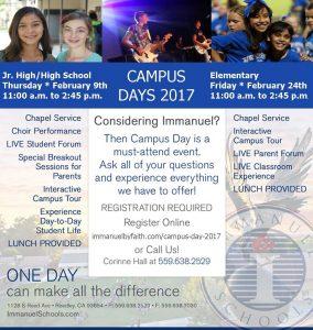 Jr. High/ High School Campus Day @ Immanuel Schools | Reedley | California | United States