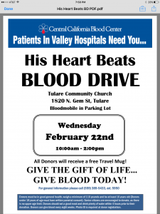 His Heart Beats Blood Drive @ Tulare Community Church  | Tulare | California | United States