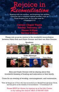 Rejoice in Reconciliation! Dinner @ Calvary Chapel Visalia | Visalia | California | United States
