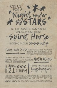 """A Night Under the Stars"" Family Fun Night/Fundraiser @ SpiritHorse Connections 