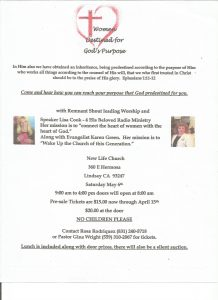 Women Destined For God's Purpose @ New Life Church | Lindsay | California | United States