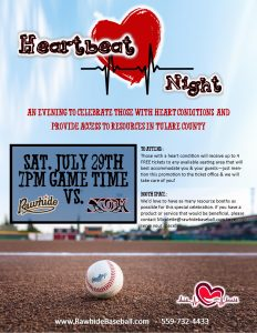 Heart Beat Night @ Visalia Rawhide  | Visalia | California | United States