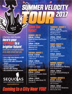 Sequoia Adult Education Consortium Summer Velocity Tour 2017 @ Visalia | Visalia | California | United States