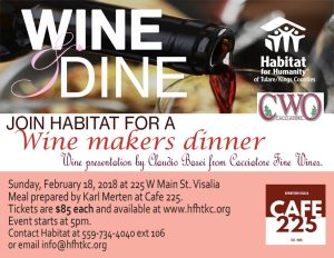 Spring Wine and Dine with Habitat for Humanity @ Cafe 225 | Visalia | California | United States