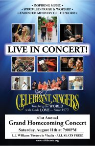 Celebrant Singers 41st Annual Grand Homecoming Concert @ LJ Williams Theatre | Visalia | California | United States