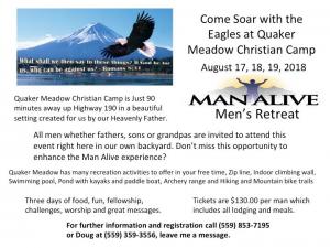 Man Alive  Men's Retreat @ Quaker Meadow Christian Camp | Springville | California | United States