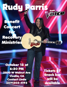 Recovery Benefit Concert with Rudy Parris @ Heart of the Valley Church | Visalia | California | United States