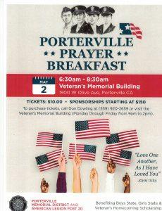Porterville Prayer Breakfast, National Day of Prayer @ Porterville Veterans Memorial Building