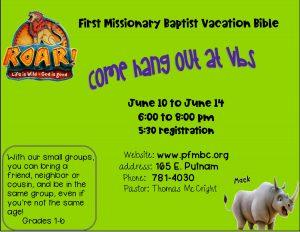 ROAR Vacation Bible School @ Porterville FMBC