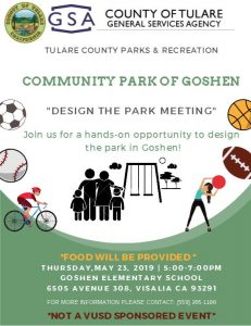 "Community Park of Goshen- ""Design the Park Meeting @ Goshen Elementary School"