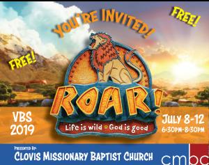 VBS-Roar FREE @ Clovis Missionary Baptist Church