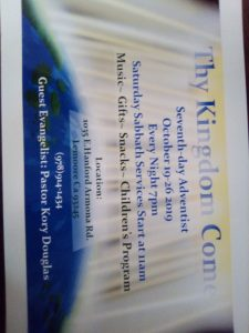 Thy Kingdom Come (Evangelist) @ Seven Day Adventist Church