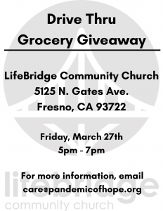 Lifebridge Community Church/Drive Thru Grocery Giveaway @ Lifebridge Community Church Fresno Ca. | Fresno | California | United States