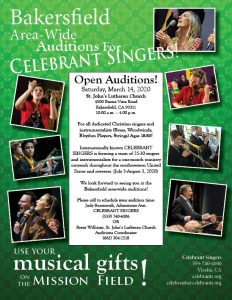 Bakersfield Area-Wide Auditions for CELEBRANT SINGERS @ St. John's Lutheran Church | Bakersfield | California | United States